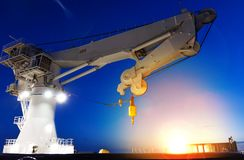Free Offshore Heavy Lift Crane At Sea By Night Knuckle Jib Royalty Free Stock Photography - 130378097