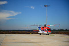 Offshore helicopter Stock Image