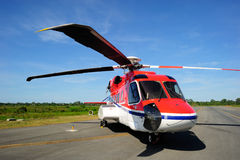 An offshore helicopter parking at the taxi way Stock Photography