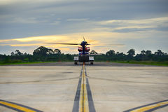 Offshore helicopter taxi out to runway for oil rig operation Stock Photography
