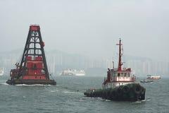 Offshore Hong Kong. Transport ship on the coast of Hong Kong Stock Images