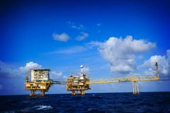Offshore Industry oil and gas. Production petroleum pipeline stock photo