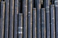 Offshore Industry oil and gas production petroleum pipeline. Downhole drilling rig. Laying the pipe on the deck. View of the shell. Of drill pipes laid in stock images