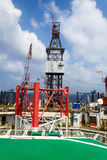 Offshore Jack Up Drilling Rig in The Middle of The Ocean Stock Image