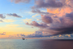 Offshore jack up drilling rig in the middle of the ocean Stock Photos