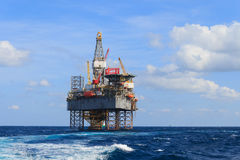 Offshore Jack Up Drilling Rig Over The Production Platform Royalty Free Stock Photography