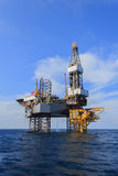 Offshore Jack Up Drilling Rig Over The Production Platform Royalty Free Stock Image