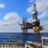 Offshore Jack Up Drilling Rig Over The Production Platform Royalty Free Stock Photo