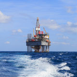 Offshore Jack Up Drilling Rig Over The Production Platform Stock Images