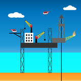 Offshore jack up rig, vector illustration Stock Photos