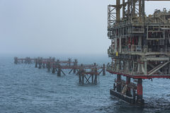 Offshore jackets. In oilfield Arabian Gulf Royalty Free Stock Images