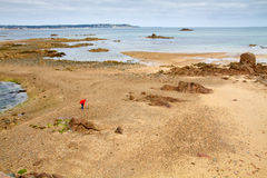 Offshore the Jersey, UK, coast at low tide Royalty Free Stock Image