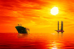 Offshore oil area at sunrise Stock Image