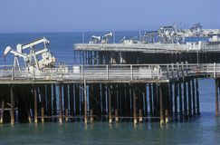 Offshore oil drilling near Santa Barbara, CA Stock Images