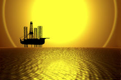 OFFSHORE DRILLING RIG-OIL WELL AT SUNSET Stock Photos