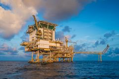 Offshore oil and gas construction platform where produce opwer and energy to the world. royalty free stock image