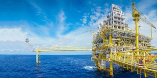 Offshore oil and gas central facility panorama view where produced gas and oil. royalty free stock images