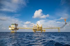 Offshore oil and gas central processing platform and accommodation, flare and remote platform. Offshore oil and gas central processing platform and stock images