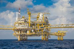 Offshore oil and gas central processing platform. stock image