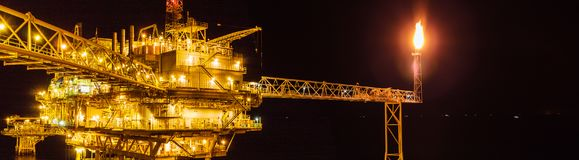Offshore oil and Gas central processing platform and remote plat stock photography