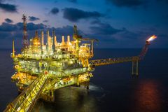 Offshore oil and gas central processing platform treat gases and compress to high pressure then sent to onshore refinery. Offshore oil and gas central Royalty Free Stock Photography