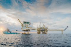 Offshore oil and gas central processing platform where produce raw gas condensate and crude oil for sent to onshore refinery. Stock Photography