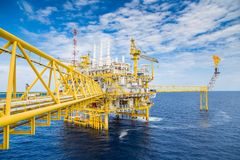 Offshore oil and gas construction rig, power and energy business industry. royalty free stock photography