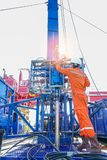 Oil rig worker inspect and setting up top side tools for safety first to perforation oil and gas production well. Offshore oil and gas industry, worker inspect Royalty Free Stock Photo