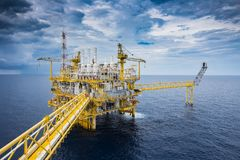 Offshore oil and Gas central facility at the gulf of Thailand. Stock Photo