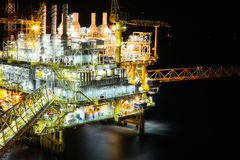 Offshore oil and gas production and exploration business. Production oil and gas plant and main construction platform in the sea Royalty Free Stock Photography
