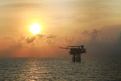Offshore oil and gas production and exploration business. Production oil and gas plant and main construction platform in the sea Royalty Free Stock Images