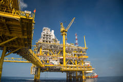 Offshore oil and gas production and exploration business. Production oil and gas plant and main construction platform in the sea. Energy business royalty free stock image