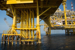 Offshore oil and gas production and exploration business. Production oil and gas plant and main construction platform in the sea Stock Image