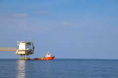 Offshore oil and gas production and exploration business. Production oil and gas plant and main construction platform in the sea Royalty Free Stock Photo