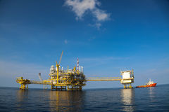 Offshore oil and gas production and exploration business. Production oil and gas plant and main construction platform in the sea Stock Photo