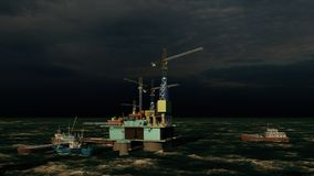 Offshore oil and gas rig platform 3d rendering stock photos
