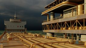 Offshore oil and gas rig platform 3d rendering royalty free stock image