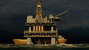 Offshore oil and gas rig platform 3d rendering stock photo