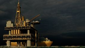 Offshore oil and gas rig platform 3d rendering royalty free stock photos