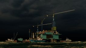 Offshore oil and gas rig platform 3d rendering royalty free stock images