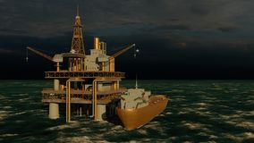 Offshore oil and gas rig platform 3d rendering stock images