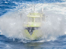 Offshore oil and gas seismic workboat in gulf of mexico. Offshore gulf of mexico seismic workboat, petroleum industry, splashing Royalty Free Stock Photography