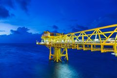 Offshore oil and gas wellhead remote platform produced crude oil and natural gas for sent to onshore refinery. Royalty Free Stock Photo