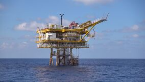 Offshore oil and gas wellhead remote platform while well perforation activity to open gases zone of production tubing