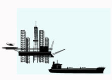 Offshore Oil Platform. Silhouette of offshore oil platforms and tankers stock illustration