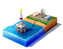 Offshore oil platform. 3d illustration of cross section of sea with oil and gas platform in the gulf or the sea, transporting gas or oil on land station Royalty Free Stock Photo