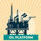 Offshore oil platform design concept set with petroleum. Helipad, cranes, derrick, hull column, lifeboat Royalty Free Stock Photo