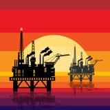 Offshore oil platform design concept set with petroleum. Helipad, cranes, derrick, hull column, lifeboat, workshop and manifold Stock Photos