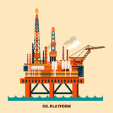 Offshore oil platform design concept set with petroleum. Helipad, cranes, derrick, hull column, lifeboat, workshop, manifold Royalty Free Stock Photos