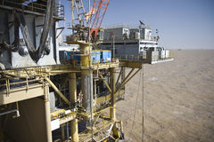Offshore oil production installation Royalty Free Stock Photos